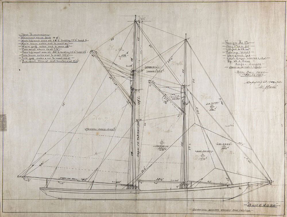 Drawing of the Bluenose sail plan