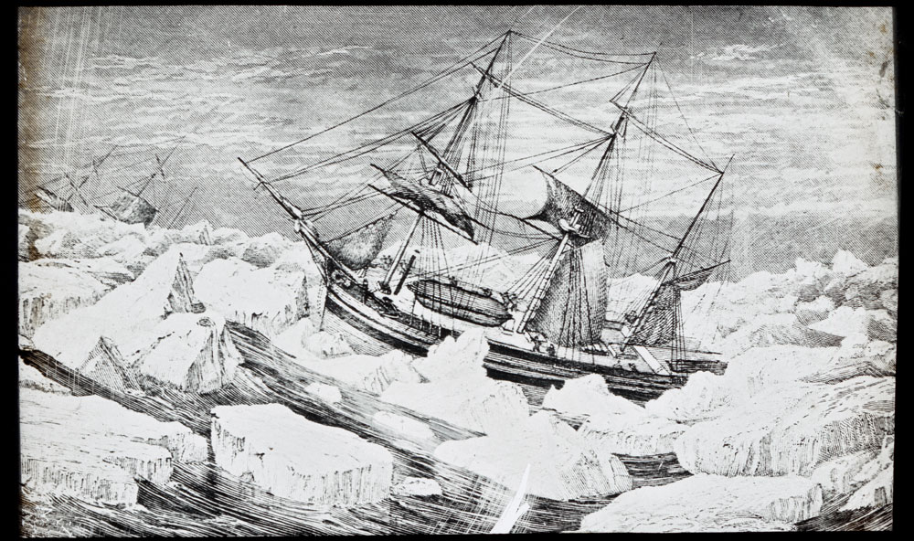Drawing of Franklin's ships in a gale