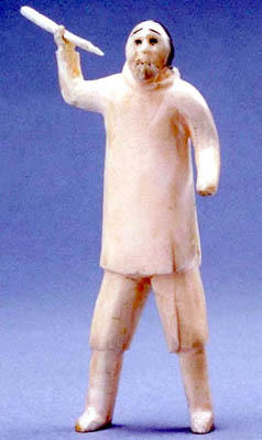 Sculpture of a hunter holding a spear