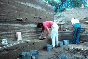 Two people searching an archaeological site.