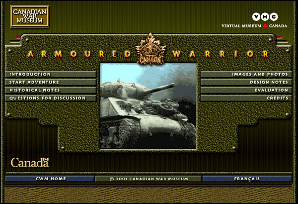 Canadian War Museum Armoured Warrior home page.