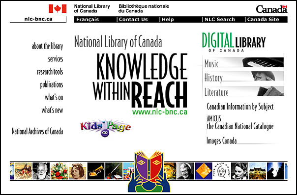Home page of the National Library of Canada