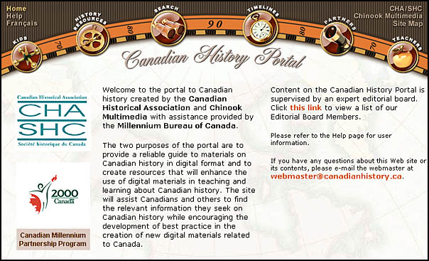 Home page of the Canadian History Portal
