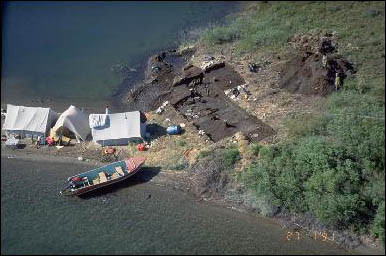 Aerial view of an archaeological excavation site on the waterfront.