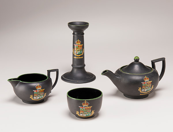 Jasperware tea service, Wedgwood Pottery (UK) circa 1905, featuring Canadian coat of arms