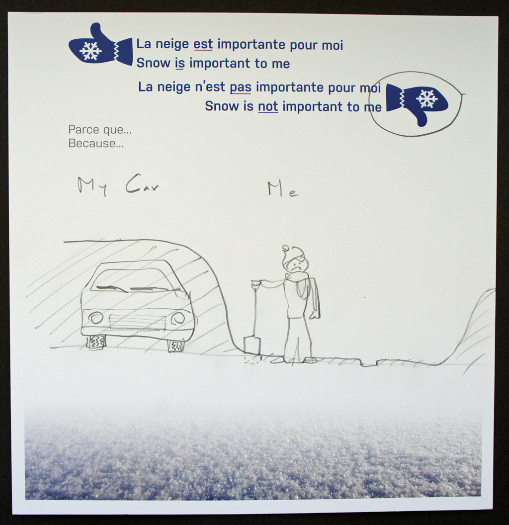 A pencil sketch of a sad person shovelling out a snowed-in car.