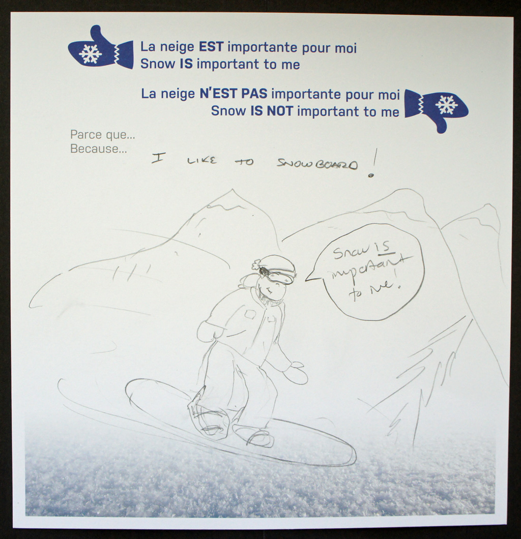 Pencil drawing of an adult snowboarding with snow-capped mountains in the background.