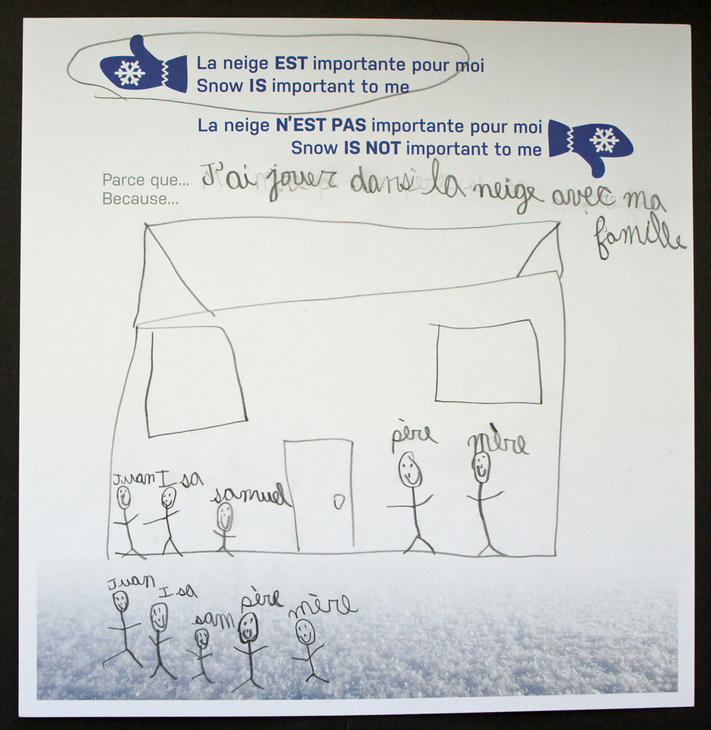 Child's pencil drawing of a stick family gathering outside of their house.