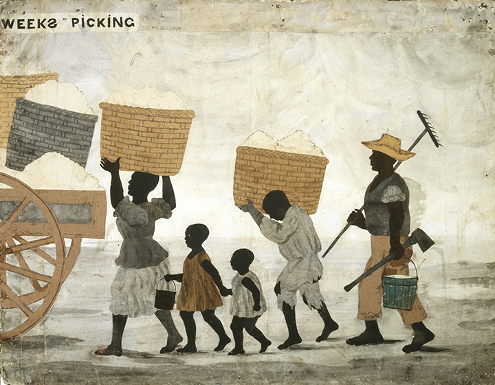 Depiction of Slave Family, labouring for their master's benefit. A woman and a child carry baskets of cotton, two children walk between them. A man carries a rake, pail and axe.