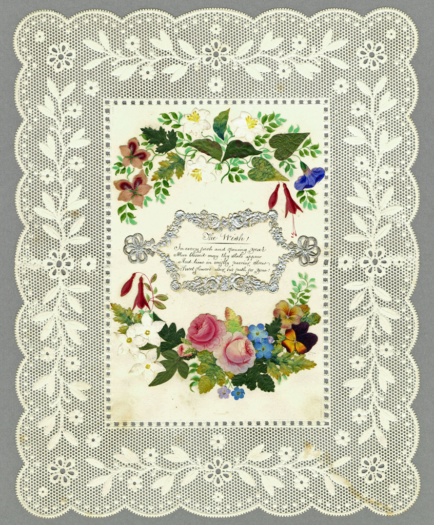Valentine from Joseph Addenbrooke, known for his paper lace, to which a handwritten poem has been added, around 1840. © Canadian Museum of History, 1983.192.13, IMG2008-0165-0021-Dm.