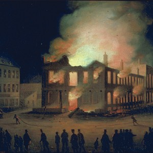 Illustration of burning Parliament building