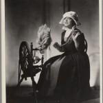 Juliette Gaultier de la Vérendrye at the spinning wheel in costume