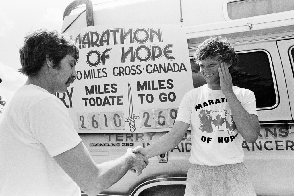 Terry in front of the Marathon of Hope van