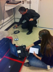 Paul Marcon and Rebecca Latourell installing the Innometer.