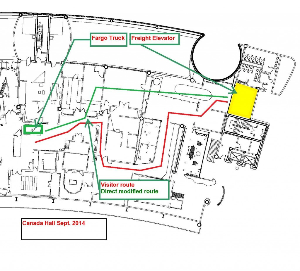 This floor plan shows the modified route we prepared to facilitate the removal of large artifacts from the Canada Hall.