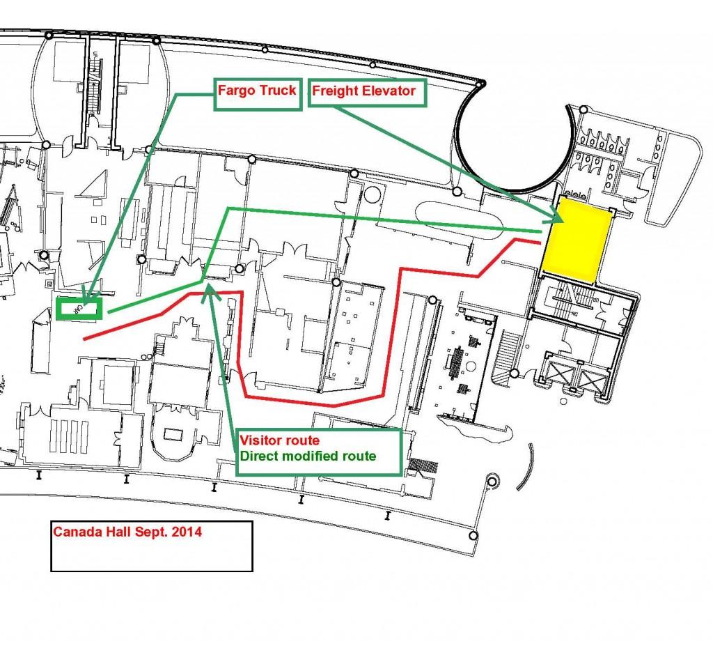 Ce plan d'étage montre le trajet modifié que nous avons planifié pour faciliter le déplacement de gros artefacts présentés dans la salle du Canada.
