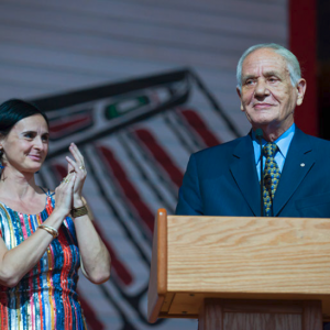 Douglas Cardinal with his wife, Idoia, at an event held at the Canadian Museum of History last June to celebrate his 80th birthday.