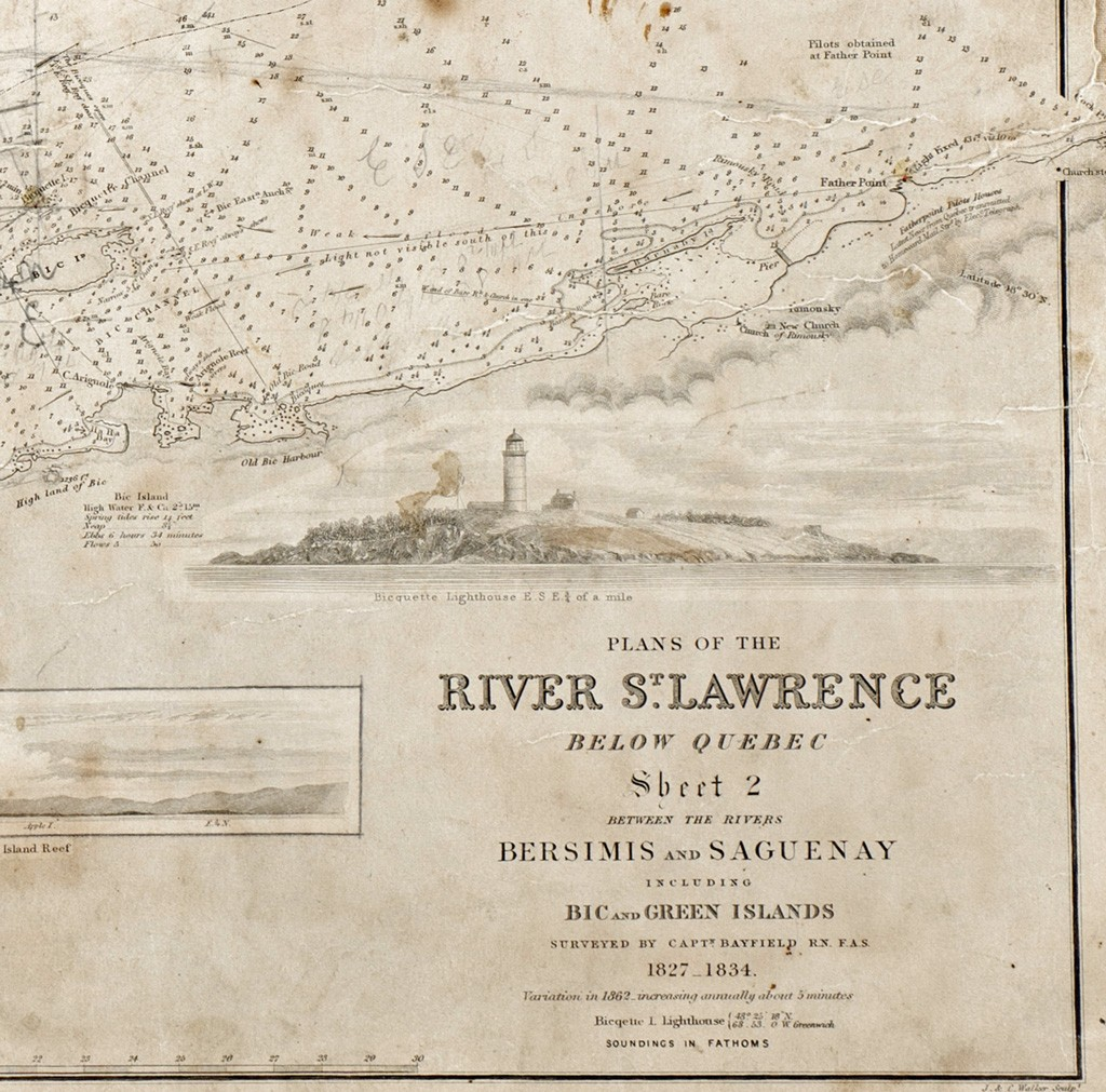 Map of the St. Lawrence shoreline showing the old Bic Harbour in the lower left and Pointe-au-Père (Father Point) in the top right corner. Photo by Steven Darby, Canadian Museum of History, after an original from the collections of the Musée maritime du Québec.
