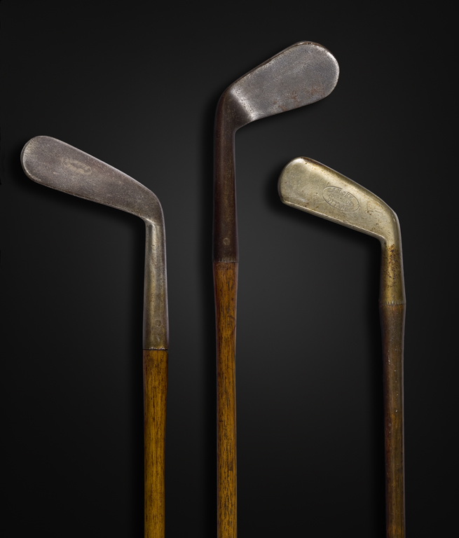 Early golf clubs, around 1900, stamped J.H. Oke and Wm. Park. Canadian Museum of History 995.4.6; 994.6.56; 996.3.31