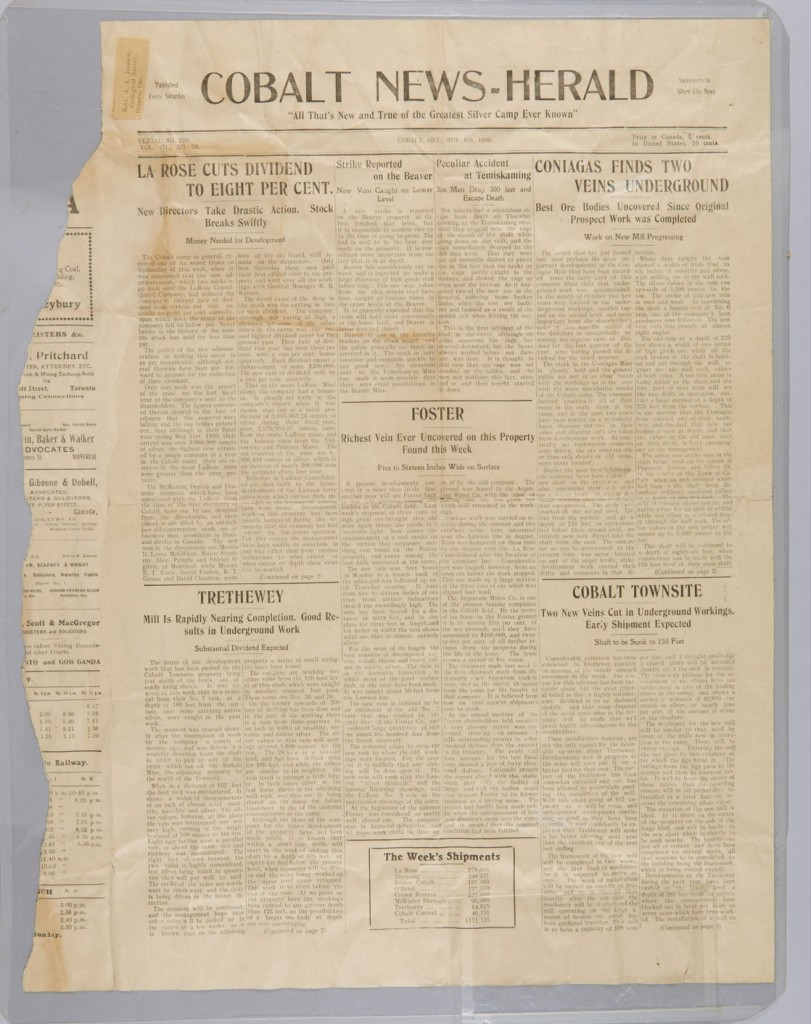 Edition of the Cobalt News-Herald from November 6, 1909, Canadian Museum of History, IMG2015-0054-0470-Dm