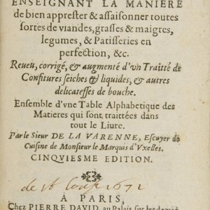 Title page from Le cuisinier françois