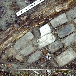 "A course of ""Flemish"" bricks alongside a floor joist, in front of a chimney site near the 1685–1690 Old Fort, Fort Churchill."