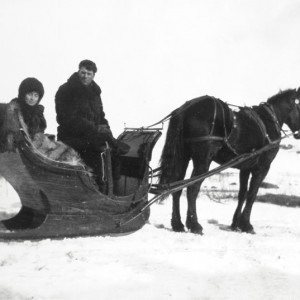 A sleigh ride in the snow 1912