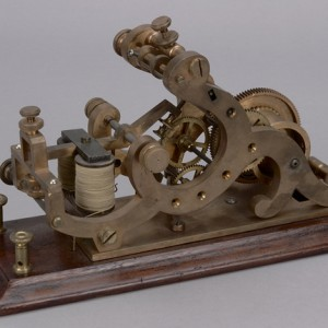 Morse recorder, from the mid-19th century. This device received Morse code signals. Canadian Museum of History, CN-75 a