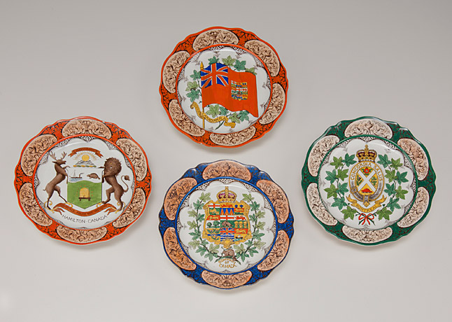 Hand-painted souvenir plates, Wedgwood Pottery (UK), featuring Canadian heraldic symbols