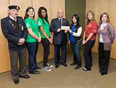 Students from Laval Junior High School, presenting a cheque to Dr. Paul Kavanagh