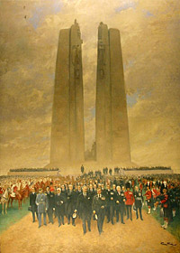 Painting by French artist Georges Bertin Scott of King Edward VIII at the unveiling of the Vimy Memorial.