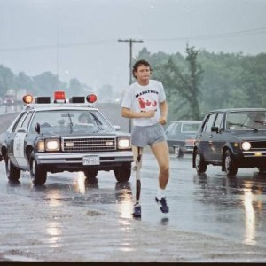 Terry Fox running on highway 11, north of Orillia, Ontario. Photo: Brad Paxton.