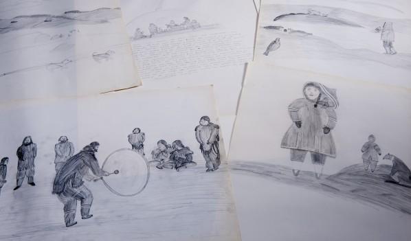 Drawings of Inuit people.