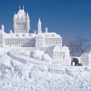 A snow sculpture of The Chateau Frontenac