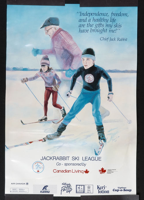 "Colour poster depicting children skiing, superimposed over an image of ""Jackrabbit"" Johannsen, founder of the Jackrabbit Ski League. The poster also features a quotation from Johannsen: ""Independence, freedom, and a healthy life are the gifts my skis have brought me!"" Print of the original 1987 painting by John Ryan. Canadian Museum of History, 2005.208.7, D2006-05201"