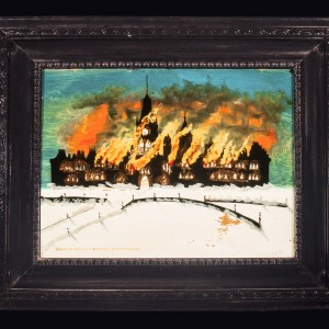 Oil painting of the fire on Parliament Hill on February 3, 1916 (artist unknown). Canadian Museum of History, 93-698, IMG2016-0016-0001-Dm