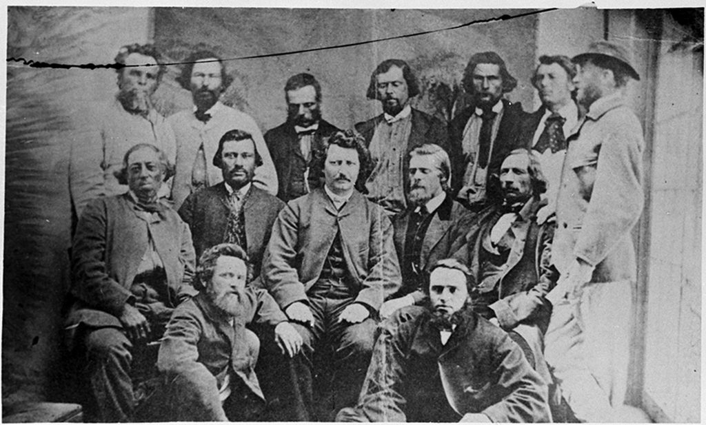 The Métis envisioned part of their homeland as a province within Confederation — a place where their rights, culture and property would be protected. Councillors of the Provisional Government of the Métis Nation. Library and Archives Canada. PA-012854