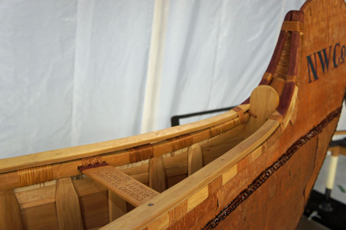 Detail of the canot du maître made by master canoe builder Richard (Rick) M. Nash. Canadian Museum of History, photo E. Laberge