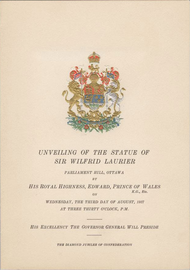 Souvenir program for the unveiling of the monument to Sir Wilfrid Laurier on Parliament Hill, August 3, 1927. Canadian Museum of History, 2012-H0040.101.1. Gift of Serge Joyal.