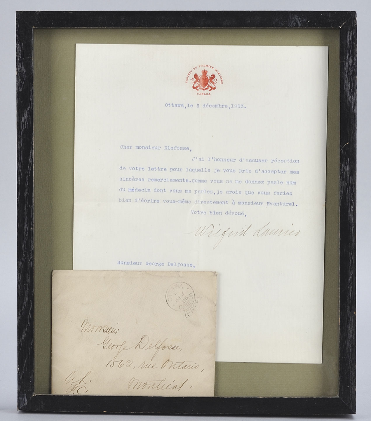 Letter from Laurier to painter Georges Delfosse, December 3, 1903. Canadian Museum of History, 2011.21.486. Gift of Serge Joyal. IMG2012-0294-0029-Dm