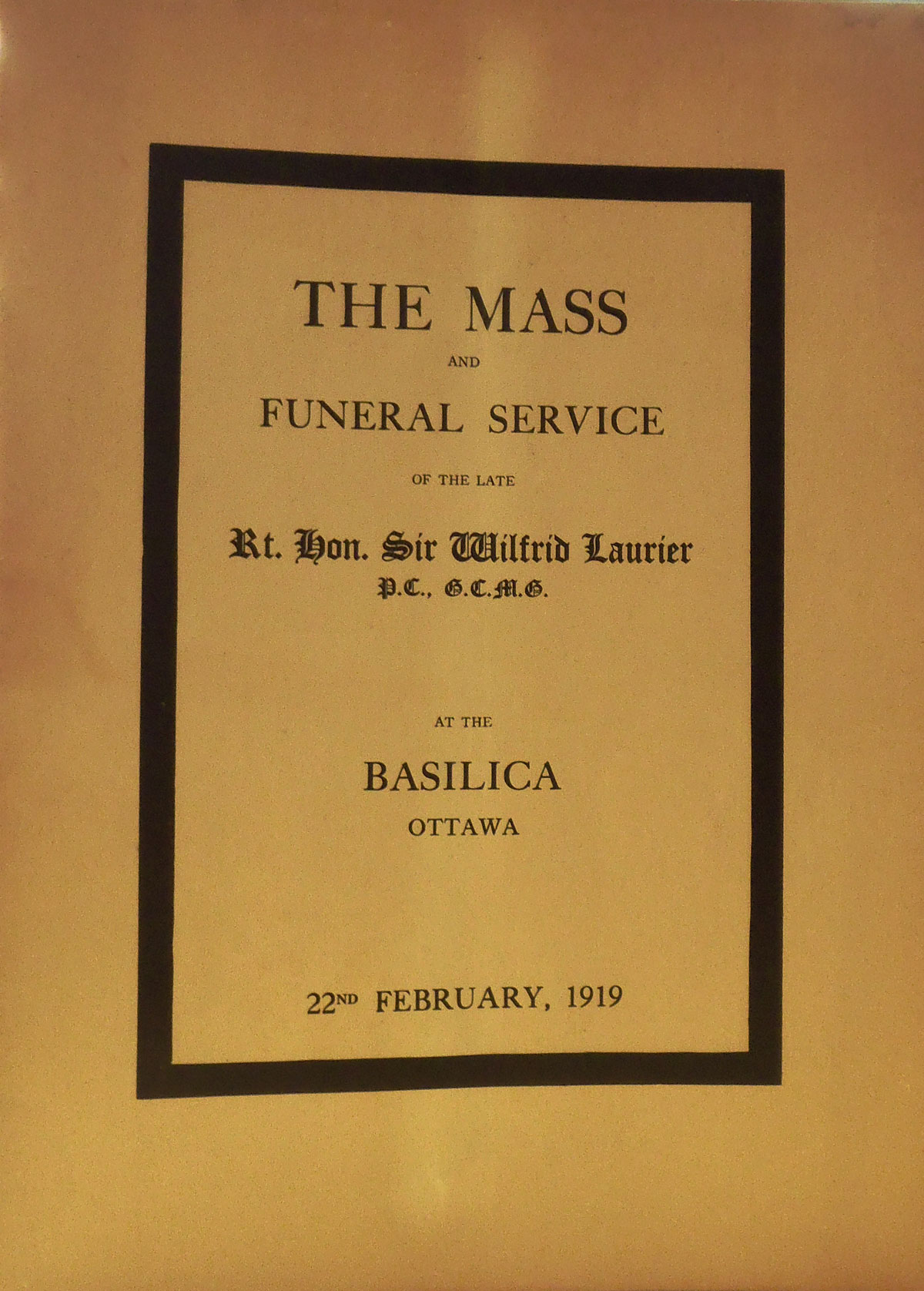 Program for Laurier's funeral mass at the Basilica in Ottawa, February 22, 1919. Canadian Museum of History, Rare Books, FC 551 L3 M37 1919. Photo: Xavier Gélinas, PB140740