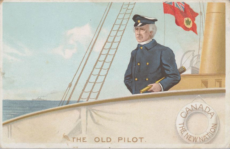 """Postcard: """"The Old Pilot ‒ Canada ‒ The New Nation,"""" undated. Canadian Museum of History, 2012-H0040.78. Gift of Serge Joyal."""