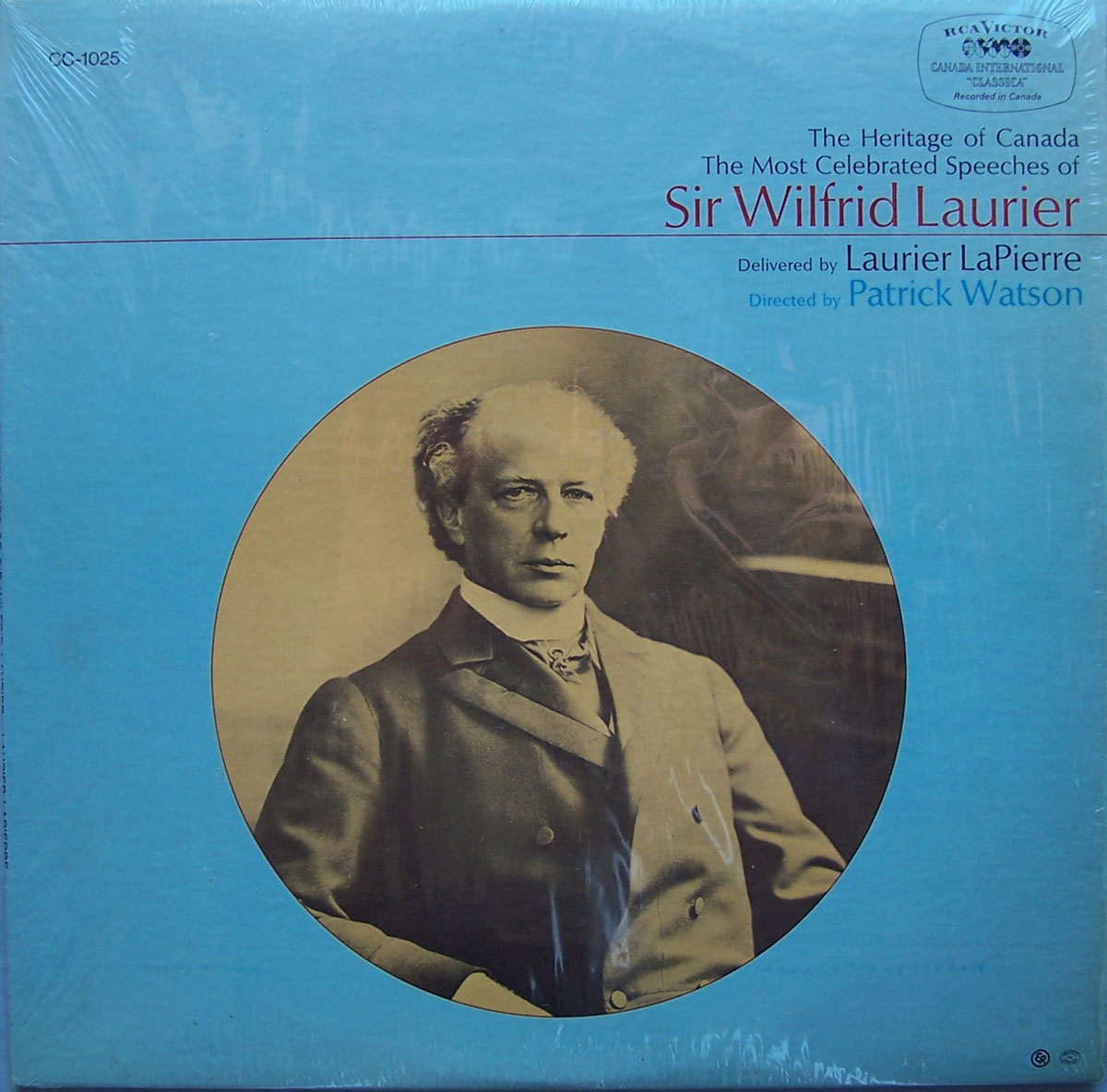 The Heritage of Canada: The Most Celebrated Speeches of Sir Wilfrid Laurier, 33-rpm RCA Victor recording, 1968. Produced by journalists Laurier Lapierre and Patrick Watson of the CBC. Canadian Museum of History, ACQ 2012.17, temporary no. 342.3. Gift of Serge Joyal. Photo: Xavier Gélinas, 342.3