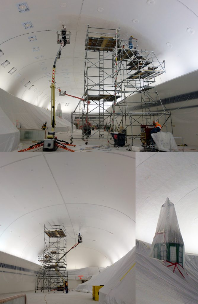 The solution to the dome's acoustic challenge was to treat the ceiling with a fibrous spray material. The process involved careful planning and … a lot of scaffolding.