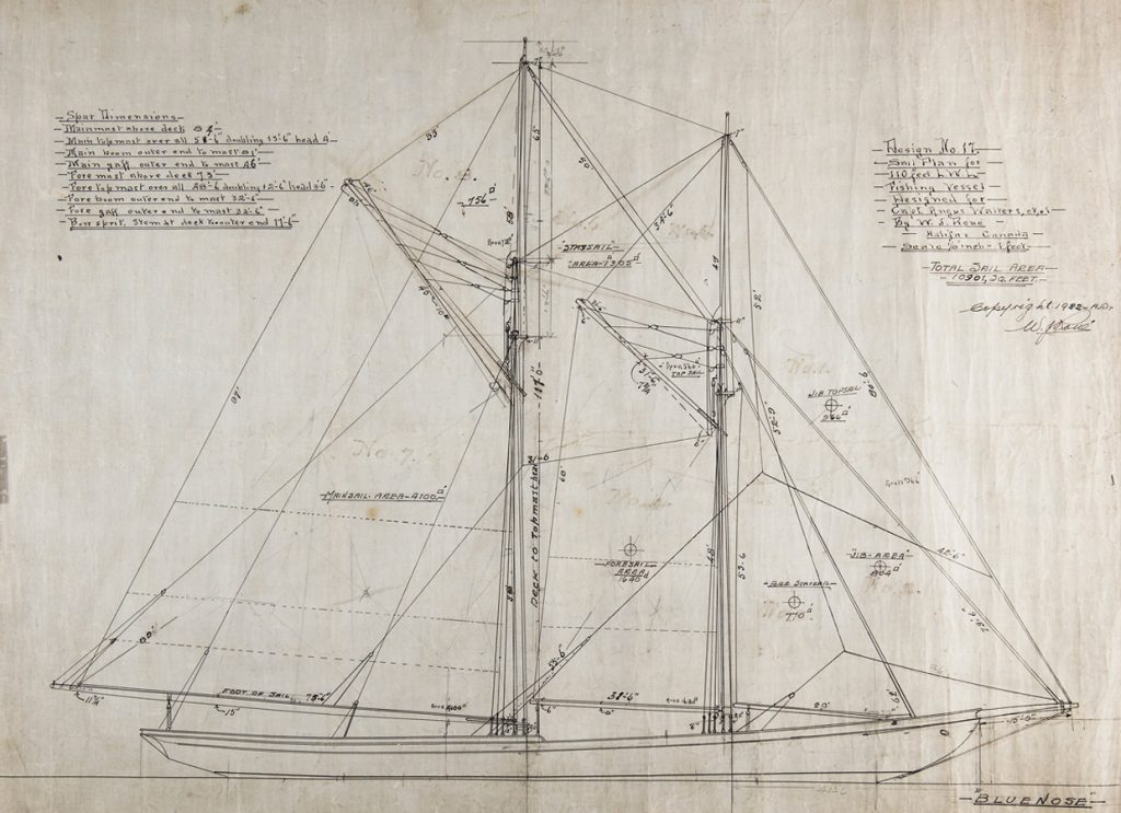 This drawing shows the arrangement of Bluenose's iconic and spectacular sail plan. William James Roué Collection, Canadian Museum of History, 2016-H0034.17.2, IMG2016-0300-0001-Dm ©JER/WJRoue.ca. Used with permission.