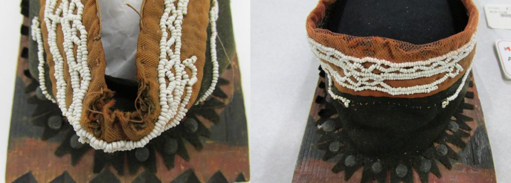 Detail of ribbon trim before and after treatment. Photo: Canadian Museum of History