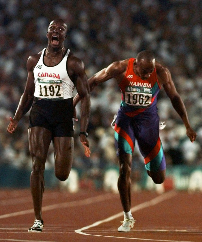 Donovan Bailey wins the gold medal for the men's 100 metres at the 1996 Olympics Doug Mills, Atlanta, Georgia, July 27, 1996. Associated Press and The Canadian Press, 96072701569