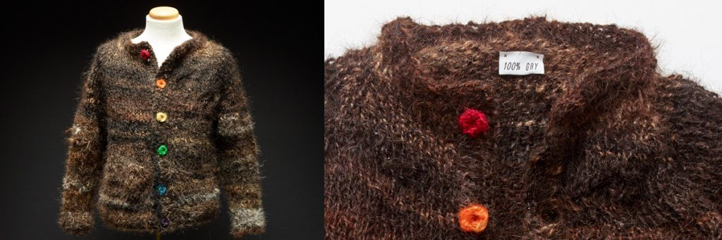 The Gay Sweater is made from 100% gay human hair. Images from Saatchi & Saatchi Canada and courtesy of the Canadian Centre for Gender and Sexual Diversity.