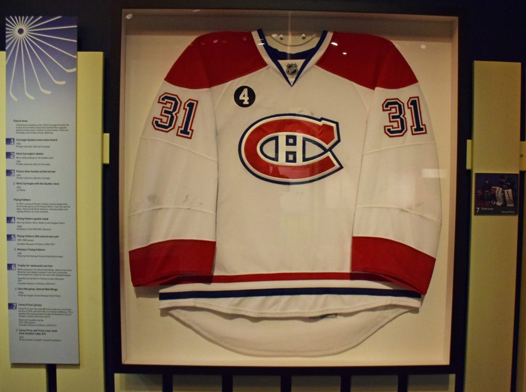 The finished, faux-commercially framed Carey Price Jersey. Photo: Canadian Museum of History.
