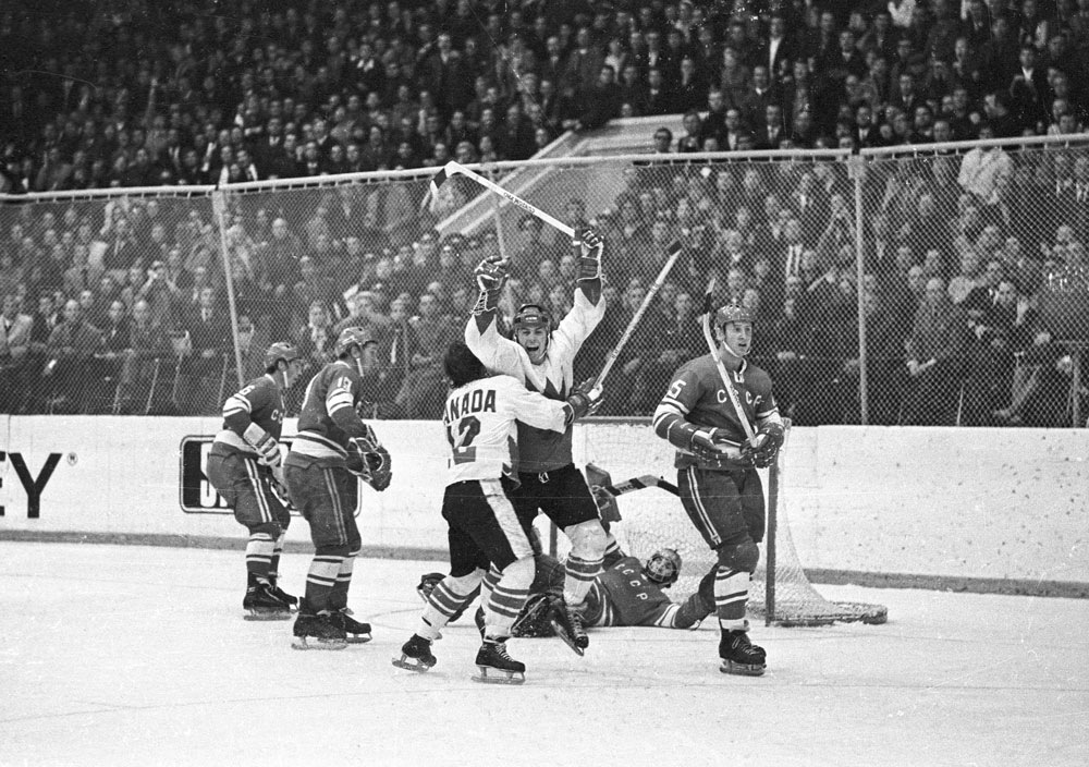 Paul Henderson's series-winning goal Summit Series final game in Moscow 1972 Photo by Frank Lennon Library and Archives Canada, e008440339 ©Estate of Frank Lennon